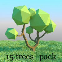 Trees pack in low poly style