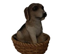 puppy dog sitting basket 3d model