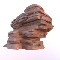3d big red desert rock