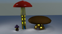 cartoon mushrooms buildings 3d model
