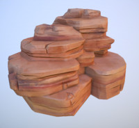 3d big desert rock model