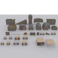 3d 3ds medieval environment modular