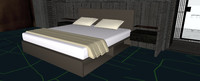 realistic king size bed 3ds