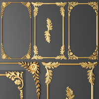 3d model frame cartouches set