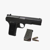 soviet gun pistol tokarev 3d model