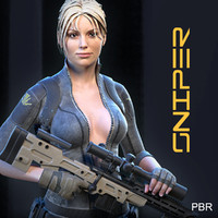 female sniper 3d max