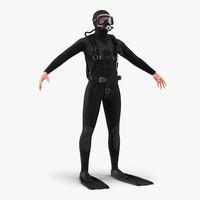 3d diver realistic model
