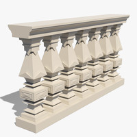3d square balustrade model
