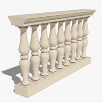 3d realistic balustrade model