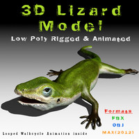 green lizard animation rigged 3d model