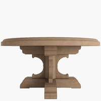 3d model french dining table oak