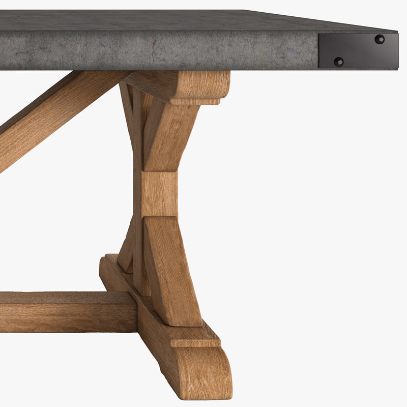 3d model table concrete salvaged for New model wooden dining table