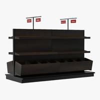 bakery display shelves dark 3d obj