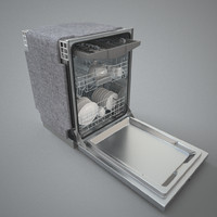 3d dishwasher kitchen interior model