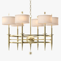 classic star arm chandelier-brass 3d max