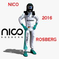 nico rosberg 2016 3d model