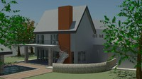 house pitched roof 3d model