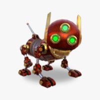 3d model robot dog steampunk