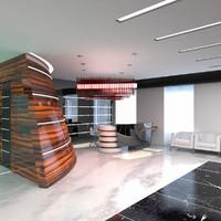 reception hall interior 3d model