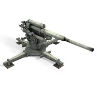 3d rigged military cannon model