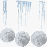 icicles snowballs 3d model