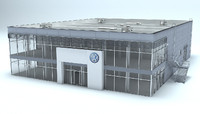 volkswagen dealer auto showroom 3d model