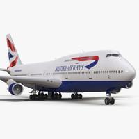 3d boeing 747-300 british airways model