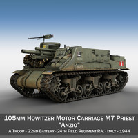 m7 priest - artillery 3d 3ds