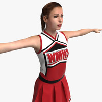 realistic cheerleader rigged biped 3d model