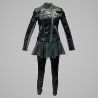 shiny leather outfit s 3d model