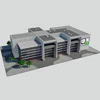 Modern Convention Center Office City Building - HD Cityscape Corner Tile 4