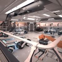 3d model sci fi hangar