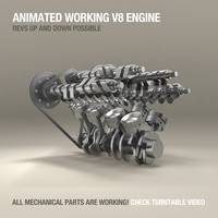 V8 Engine Working Animated