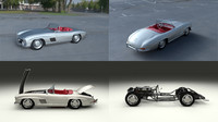 mercedes 300sl roadster modeled 3d model