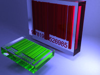Barcode with glass advanced lights scenes 3D Model