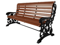 3d wrought iron bench baroque model
