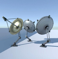 3d 3ds rigged satellite dishes