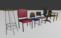 chairs set 3d c4d