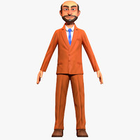 3d cartoon office worker model