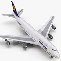 3d boeing 747-300 lufthansa