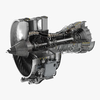 Turbofan Aircraft Engine CFM International CFM56 Sectioned