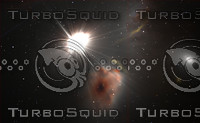 Space background with quasar and stars