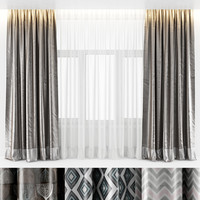 3d curtains silk model