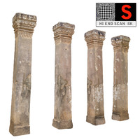 ancient column cambodia 3d obj