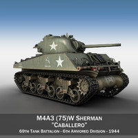 3d model m4a3 sherman - 75mm