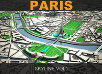3d paris skyline