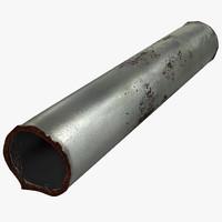 broken iron pipe 4 3d model