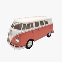 3d retro volkswagen transporter car