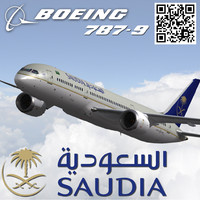 boeing 787-9 saudi arabian 3d model
