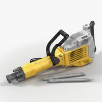 3d model of electric demolition jack hammer